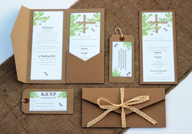 collection of stationery; Wedding invitation, R.S.V.P card, Gift list ...